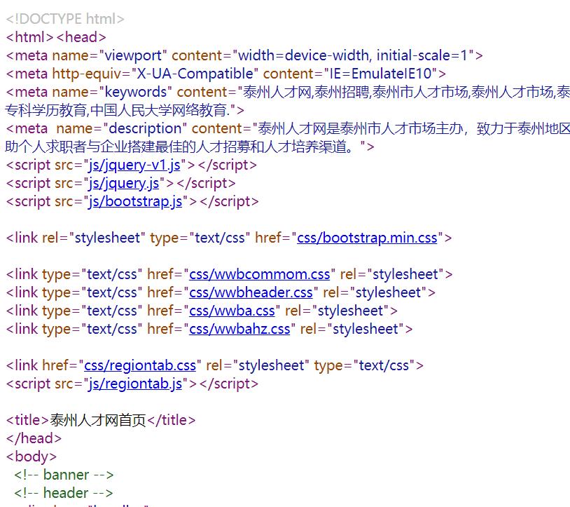 泰州人才网的网站优化做得不错