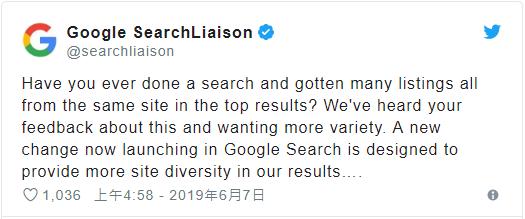 Google在其官方Twitte所言,他们注重搜索结果的多样性