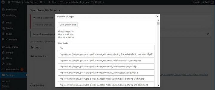 图5、WordPress File Monitor:误报警报