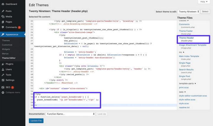 将它粘贴到header.php文件的末尾则会在全站使用面包屑导航